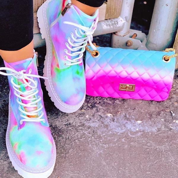 Mascori Multicolor Rainbow Tie-Dye Sneakers