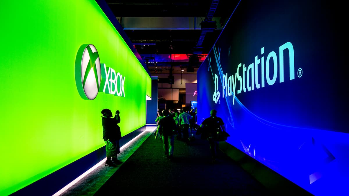 e3 convention xbox and playstation logos