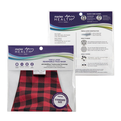 Martex Health Buffalo Plaid Reversible Triple Layer Face Masks with SILVERbac™ Antimicrobial Technology Single Pack