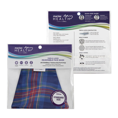Martex Health Tartan Plaid Triple Layer Face Masks with SILVERbac Antimicrobial Technology Single Pack