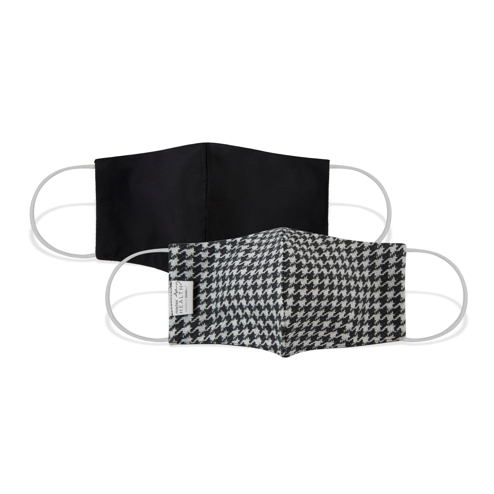 Martex Health Black and White Houndstooth Standard Triple Layer Face Mask with SILVERbac™ Antimicrobial Technology - Single Pack