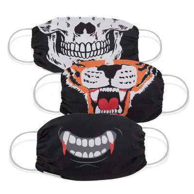 Martex Health Adult Halloween Scary Gathered Face Mask 3-Pack