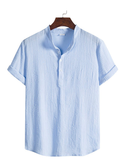 Men's Linen Basic Stand Collar Shirts