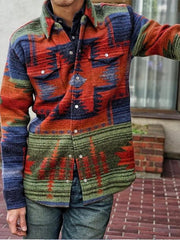 Men's Red Printed Wool Blend Basic Outerwear