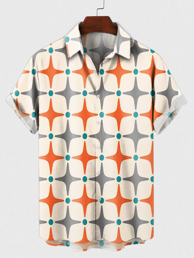 Geometric Shirt Collar Shirts & Tops