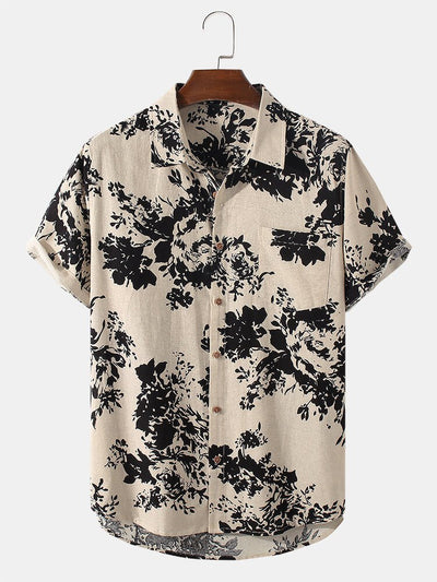 Mens Ink Printing Short Sleeve Chinoiserie Casual Shirt