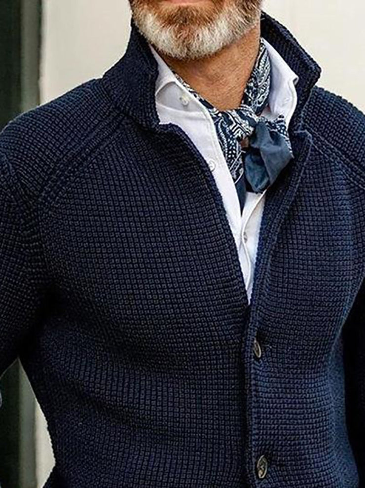Casual Pockets Turn-Down Collar Sweater