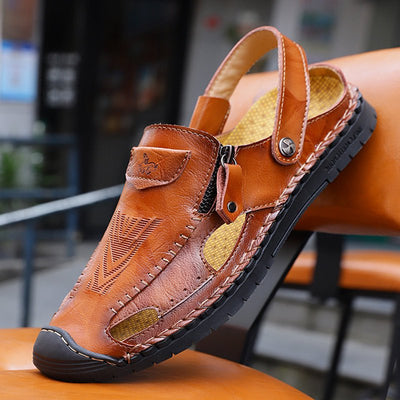 Large Size Men Hand Stitching Leather Anti-collision Non-slip Casual Sandals