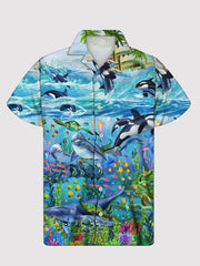 Men's Blue Printed Shirt Collar Animal Casual Shirts