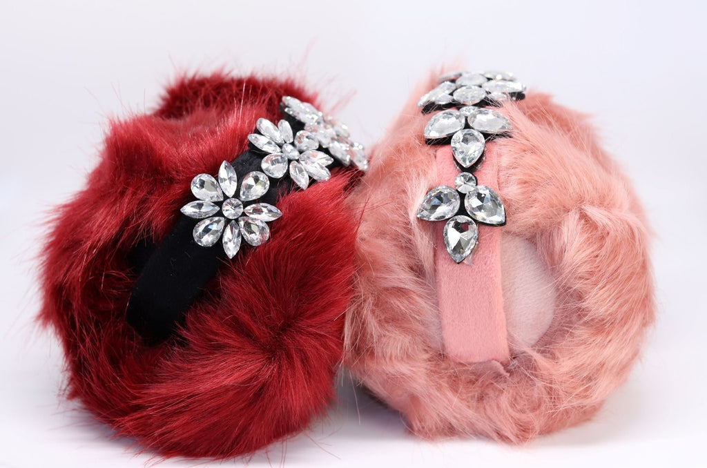 Furry muffs with sparkle flower band