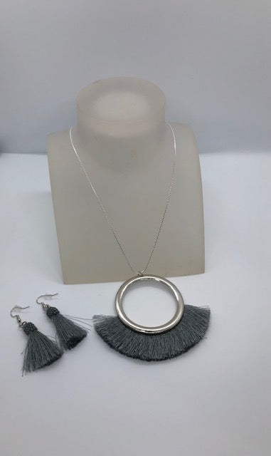 Gray Tassel with Silver Chain