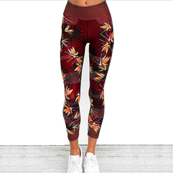 Yoga Pants Women's Fitness Sport Leggings Stripe Printing Elastic Gym Workout Tights S-XL Running Trousers Plus Size - BuyNXpress