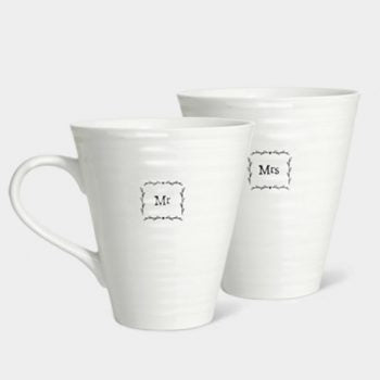 Mr & Mrs Boxed Wedding Mugs by East of India