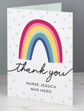 Load image into Gallery viewer, Personalised Rainbow Thank you Card