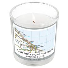 Load image into Gallery viewer, Personalised Present Day Map Compass Scented Jar Candle