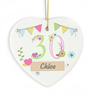 Personalised Ceramic age birthday heart