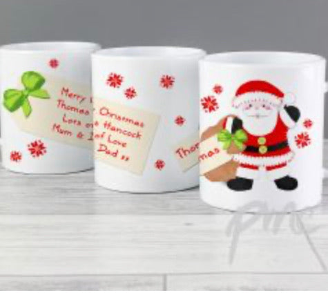 Personalised Christmas Mug Santa, Penguin, Rudolph or Fairy