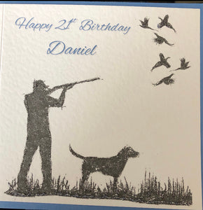 Personalised Pheasant Shooter Card make or female