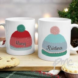 Set of 2 personalised winter bobble hat mugs
