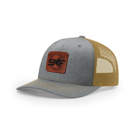Heather Grey - Amber Leather Patch Snapback - Southern Fowler