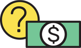Money with a question mark icon
