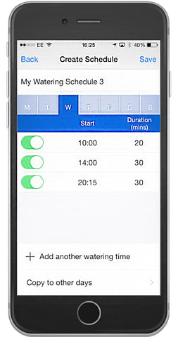 Hozelock App Creating Schedules