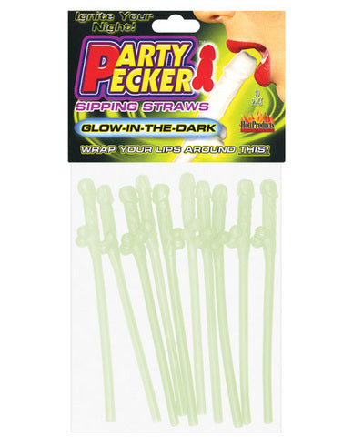 Party pecker sipping straws glow in the dark 10pc bag