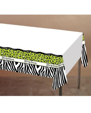 Forty-licious plastic tablecover w/border print - 54in x 108in