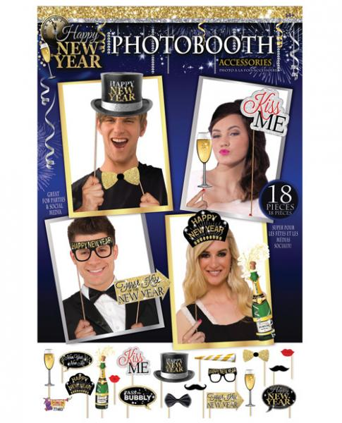 Happy New Year Photo Booth Prop Kit Set 18 Pieces