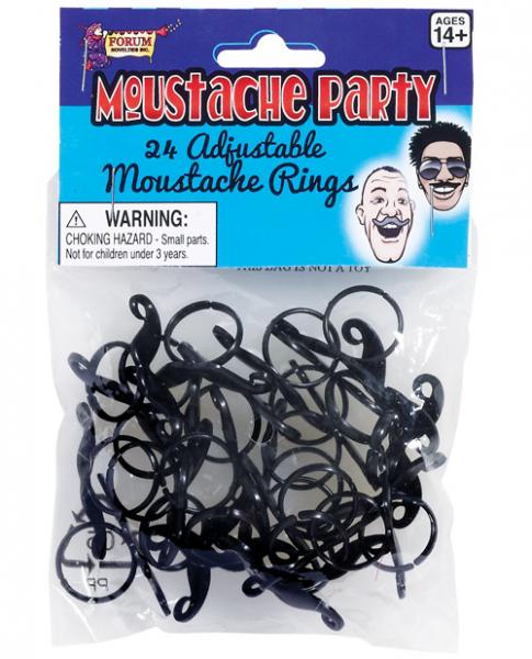 Mustache Party Adjustable Mustache Ring Black 24 Pack