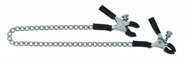 Adjustable Micro Plier Nipple Clamps With Link Chain Silver