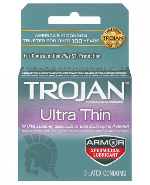 Trojan Ultra Thin Armor Spermicidal Condoms 3 Pack
