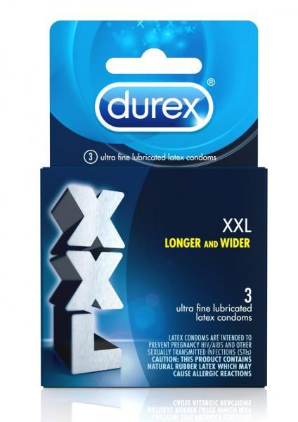 Durex XXL Lubricated 3 Pack Latex Condoms