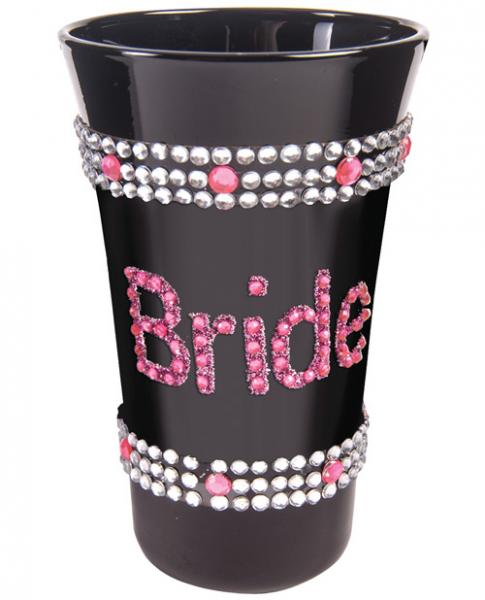 Bride Shot Glass with Pink Stones Black
