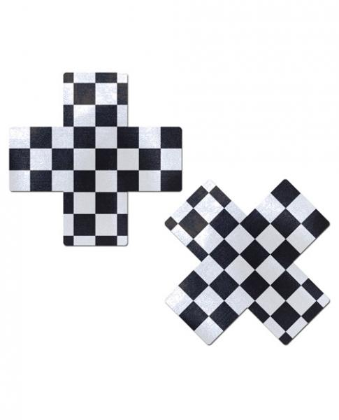 Pastease Checker Cross X Black White Pasties O/S