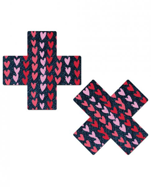 Pastease Plus with Hearts Dark Denim Pasties O/S