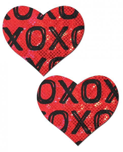 Pastease Glitter XOXO Heart Red Black O/S Pasties
