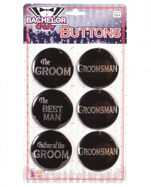 Bachelor Party Groom Buttons Asst. 6 Pack