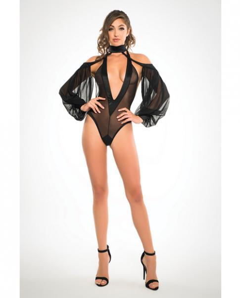 Adore Sheer Bodysuit Plunging V Neck & Long Sleeves Black Sm