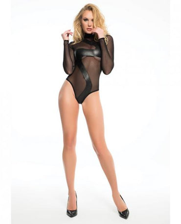 Adore Snake Inspired Sheer Bodysuit Black Small