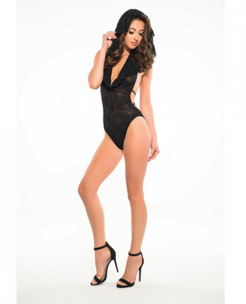 Adore Lace Bodysuit Criss Cross Back Straps & Hoodie Black Md