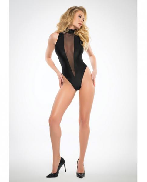 Adore Sheer, Sleeveless Bodysuit Plunging Front Black Lg