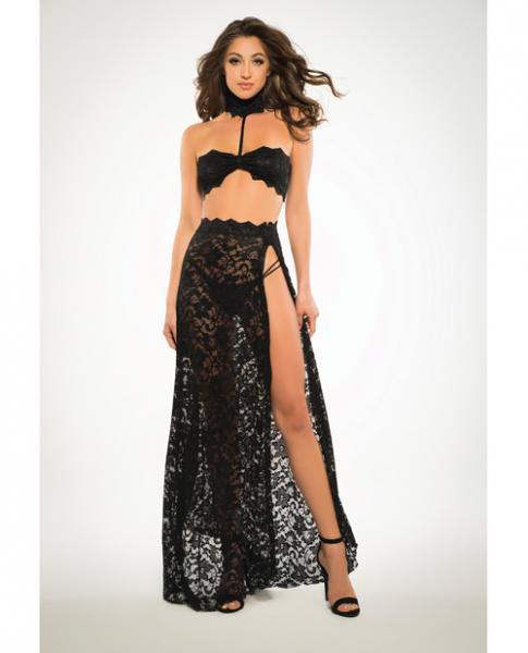 Adore Lace Bandeau Top & Skirt Black Large