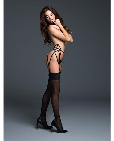 Adore The Audaciously Sexy Garter Adjustable Straps Black S/M