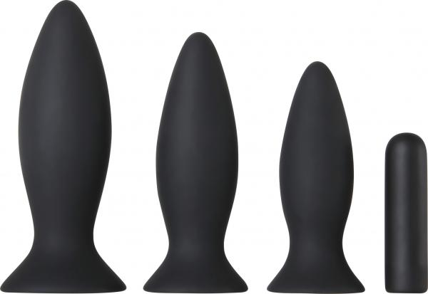 Adam & Eve Rechargeable Vibrating Anal Trainer Kit Black