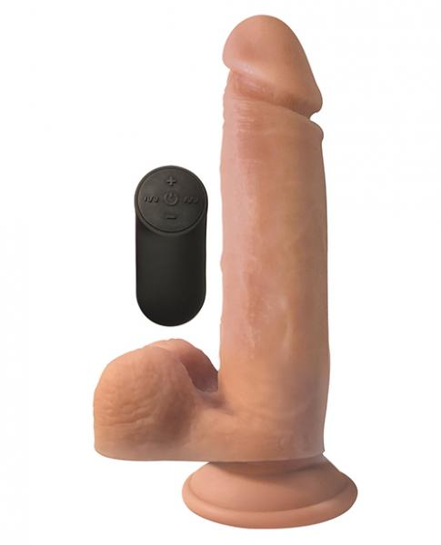 Big Shot 8 inches Silicone Vibrating Dong with Balls Beige
