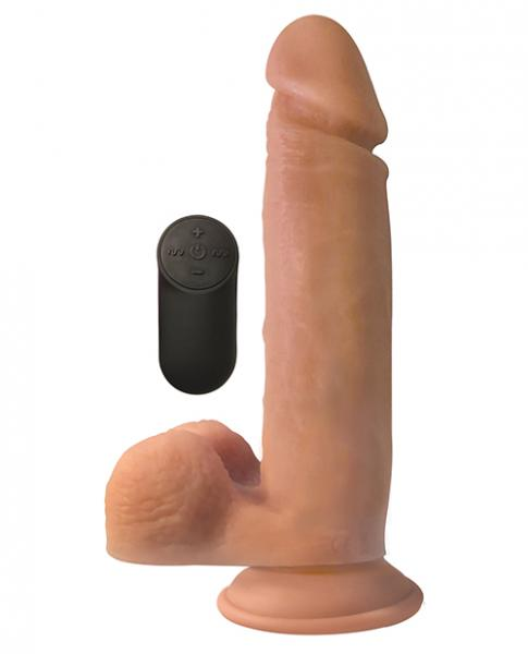Big Shot Liquid Silicone 9 inches Vibrating Dong with Balls Beige