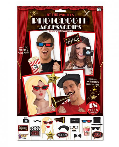 At The Movies Photo Booth Prop Kit  18 Pieces