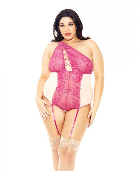 Asymmetrical Lace Teddy with Garters Magenta 3X
