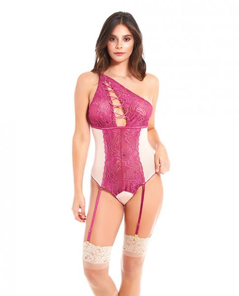 Asymmetrical Lace Teddy with Garters Magenta XL